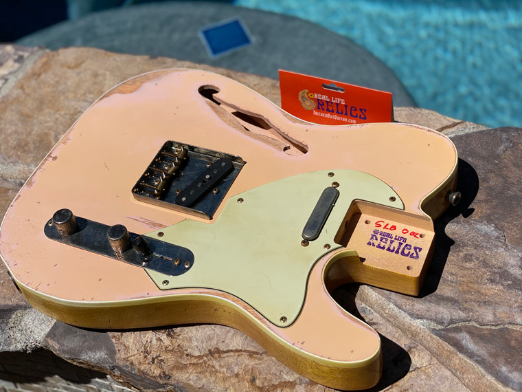 Real Life Relics Custom Class Loaded Bound F Hole T Tele® Body Shell Pink Top Nitro Lacquer