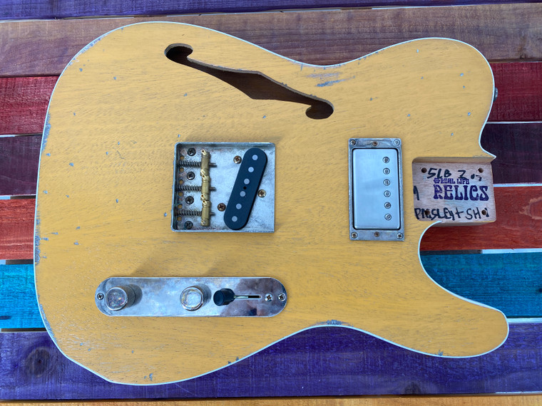 Real Life Relics Custom Class Loaded Bound F Hole T Tele® Body Butterscotch Blond Nitro Lacquer