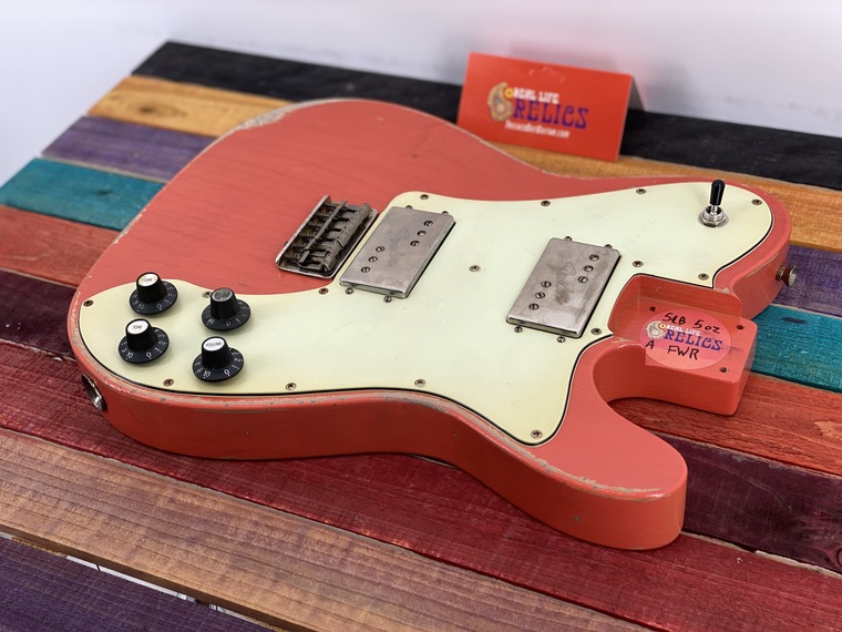 Real Life Relics Custom Class Tele® Deluxe Body Aged Trans Coral Nitro Lacquer Wide Range Humbuckers