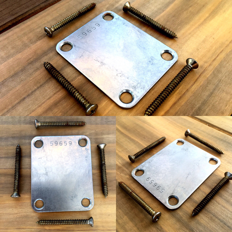 Real Life Relics Nickel Neck Plate with Serial Number (Fits Stratocaster®/Telecaster®/Fender® Basses)