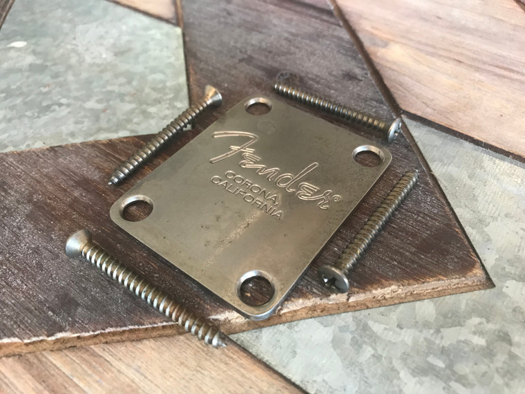 Real Life Relics Fender® Aged Chrome Corona Neck Plate for Stratocaster®/Telecaster® (Fender® SKU 0991446100)
