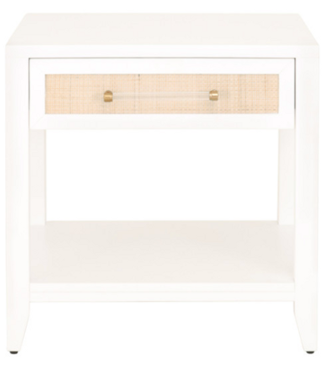 Holly Matte White And Rattan Side Table Pacific Home