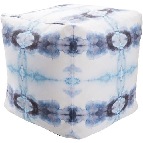 Tie Dye Pouf - Blue & White