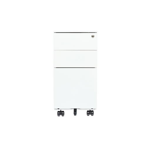 Rolling Locking File Cabinet For Sit Stand Desk In White, Black And Grey