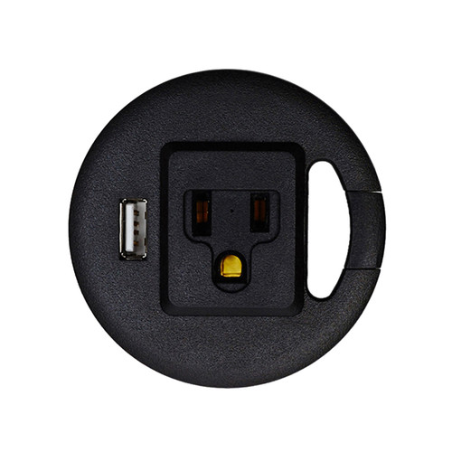 Table Top Power & USB Grommet Hole Adapter, Black
