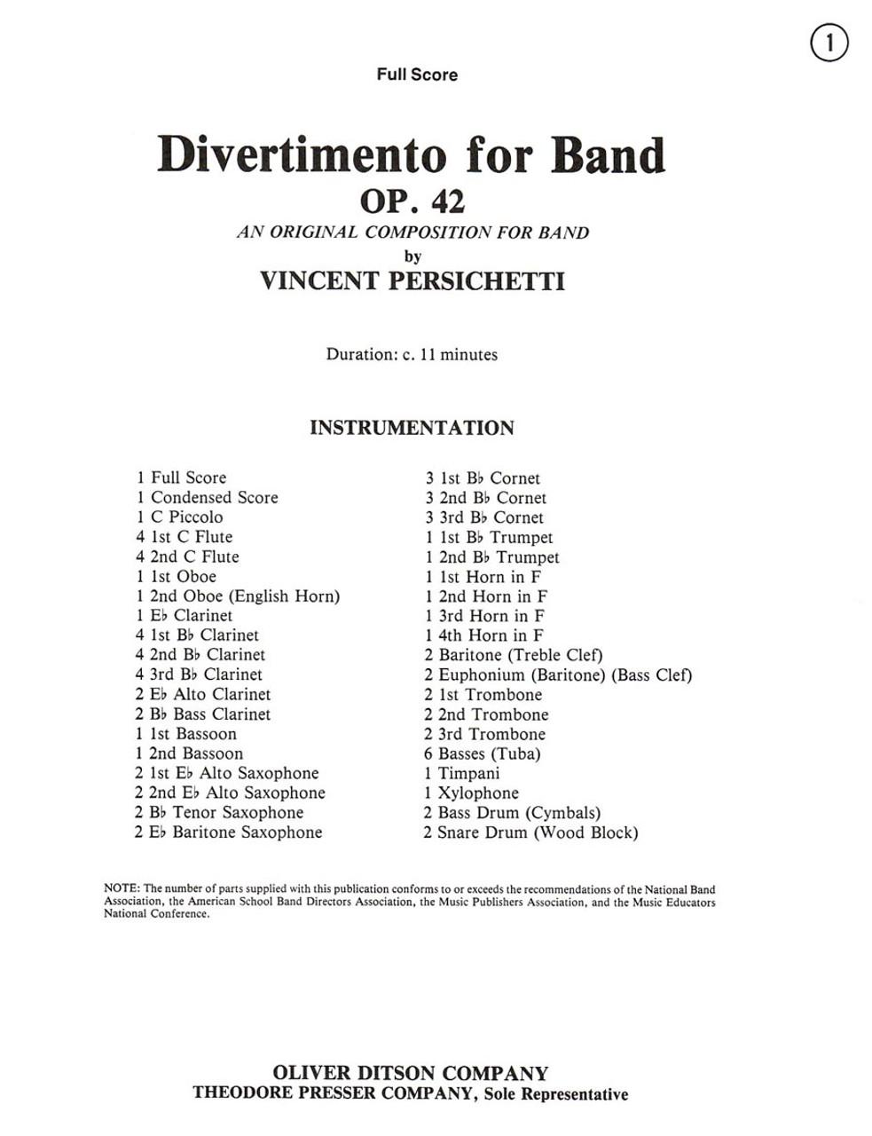 Persichetti, Divertimento For Band [CF:135-41014F]
