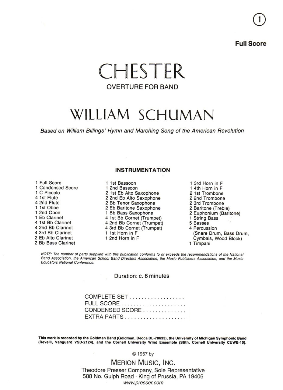 Schuman, Chester Overture For Band [CF:145-40000F]
