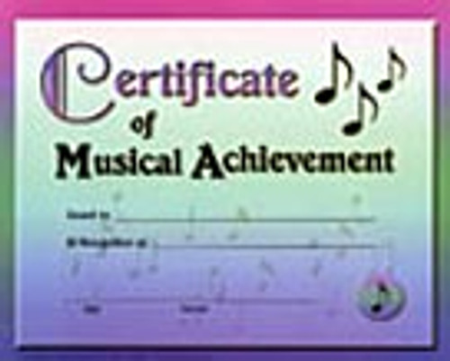 Certificate of Music Achievement (Pack of 12) [Alf:44-4018]