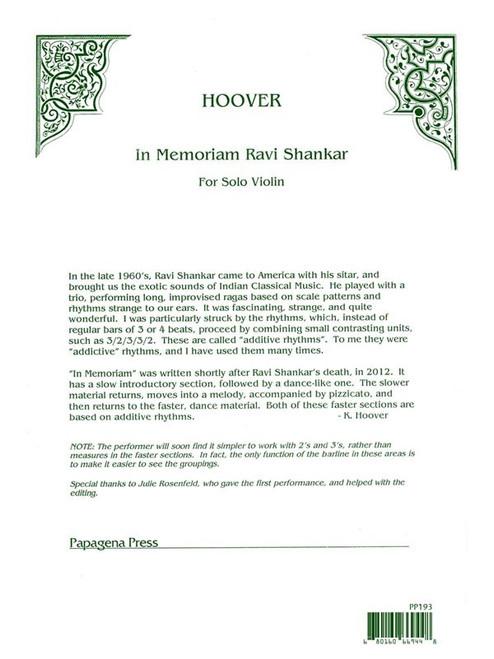 Hoover - In Memoriam Ravi Shankar [CF:PP193]