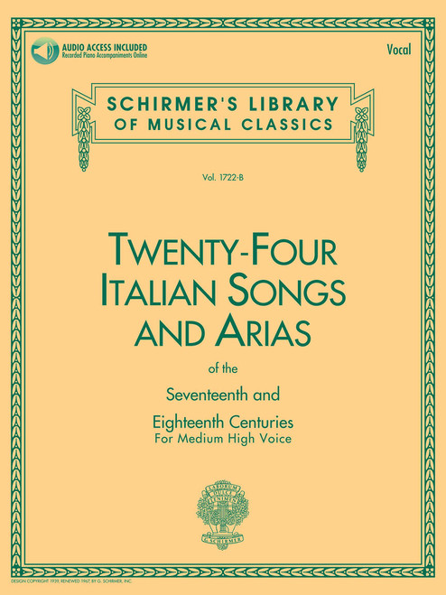 24 Italian Songs & Arias of the 17th & 18th Centuries Medium High Voice – Book with Online Audio[HL:50481592]