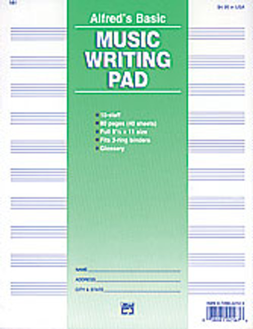 "10 Stave Music Writing Pad (8 1/2"" x 11"") [Alf:00-181]"