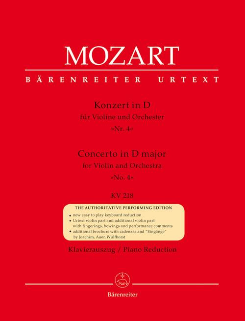 Mozart, Concerto for Violin and Orchestra no. 4 D major K. 218 [Bar:BA4866-90]