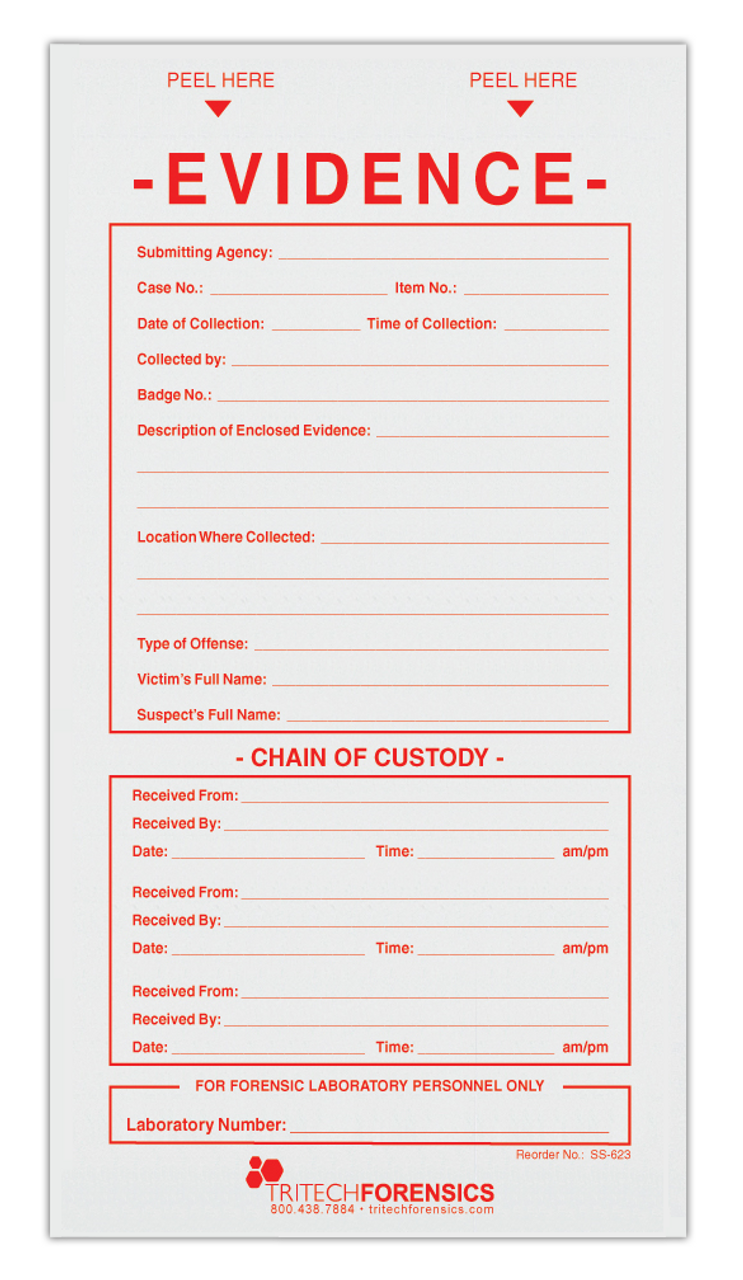 Evidence Labels With Chain Of Custody Fill In And Lab Section 3 5 X 6 5 100 Lbls