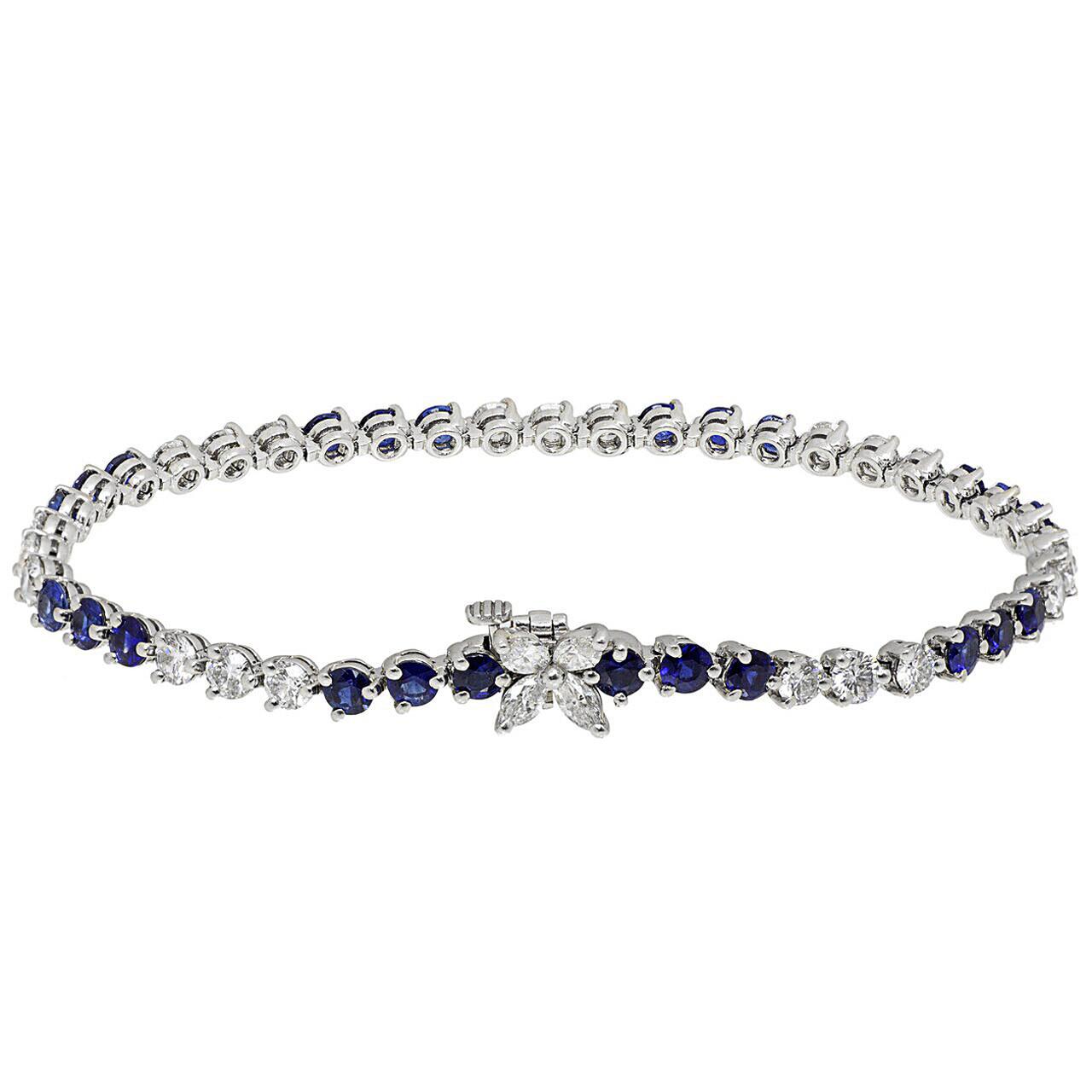 Tiffany Co Platinum Diamond Sapphire Victoria Tennis Bracelet Modaselle