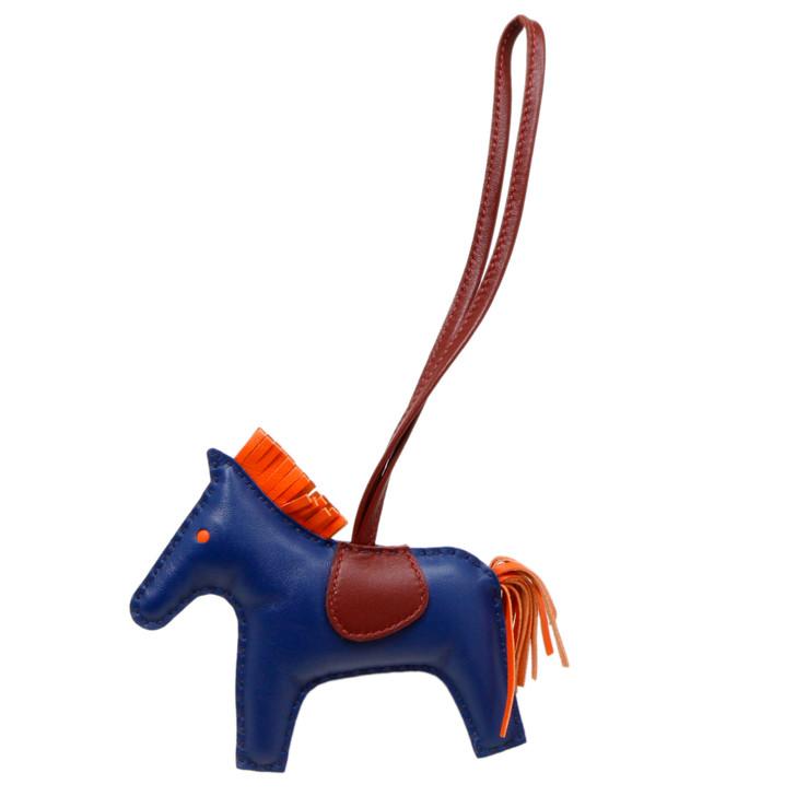 Hermes Bleu de Malte/Rouge H/Peony Milo Lambskin Grigri Horse Bag Charm MM