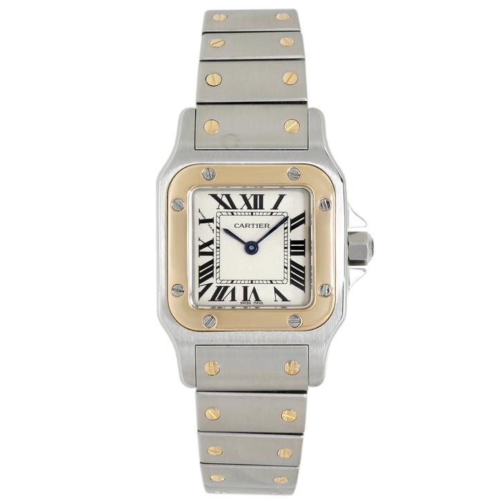 Cartier Santos Stainless Steel & 18K Yellow Gold Ladies Santos Galbee Quartz Watch