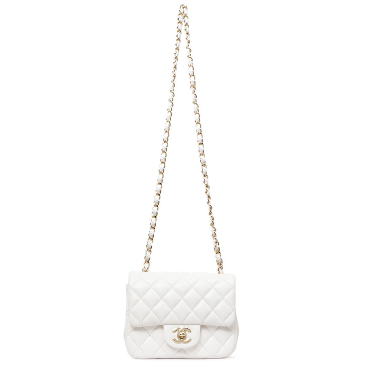 Chanel White Quilted Lambskin Mini Square Flap