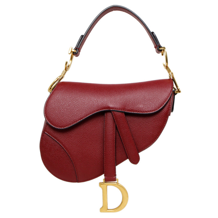 Christian Dior Red Grained Calfskin Mini Saddle Bag