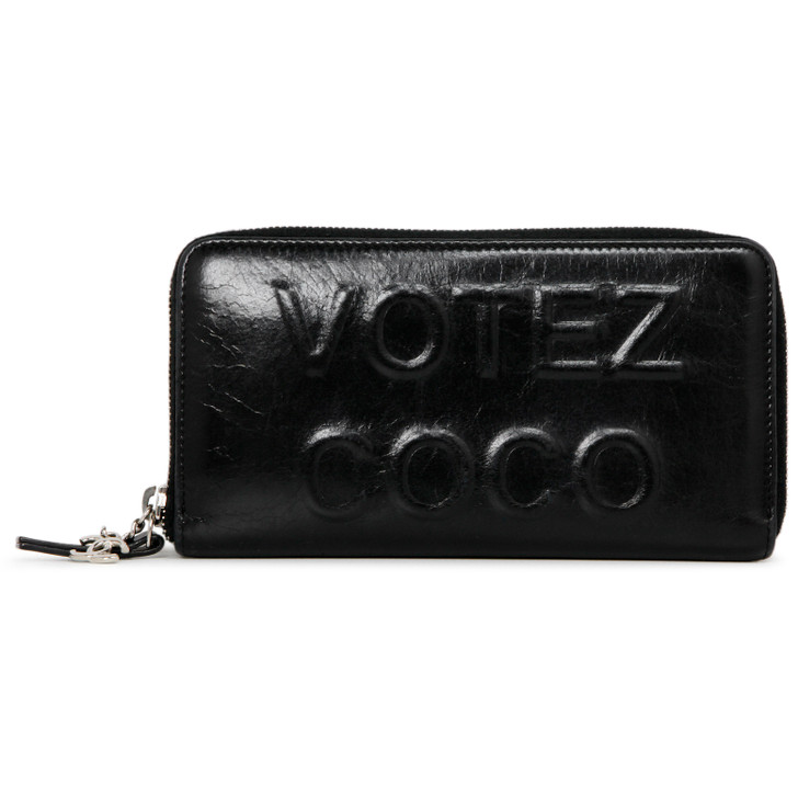 Chanel Black Calfskin Votez Coco Zipped Long Wallet