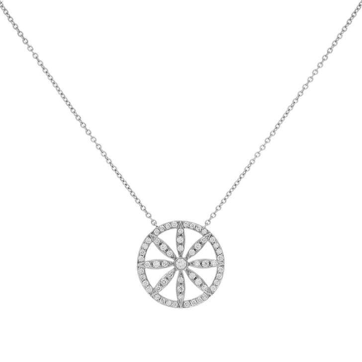 Tiffany & Co. 950 Platinum & Diamond Round Daisy Pendant Necklace
