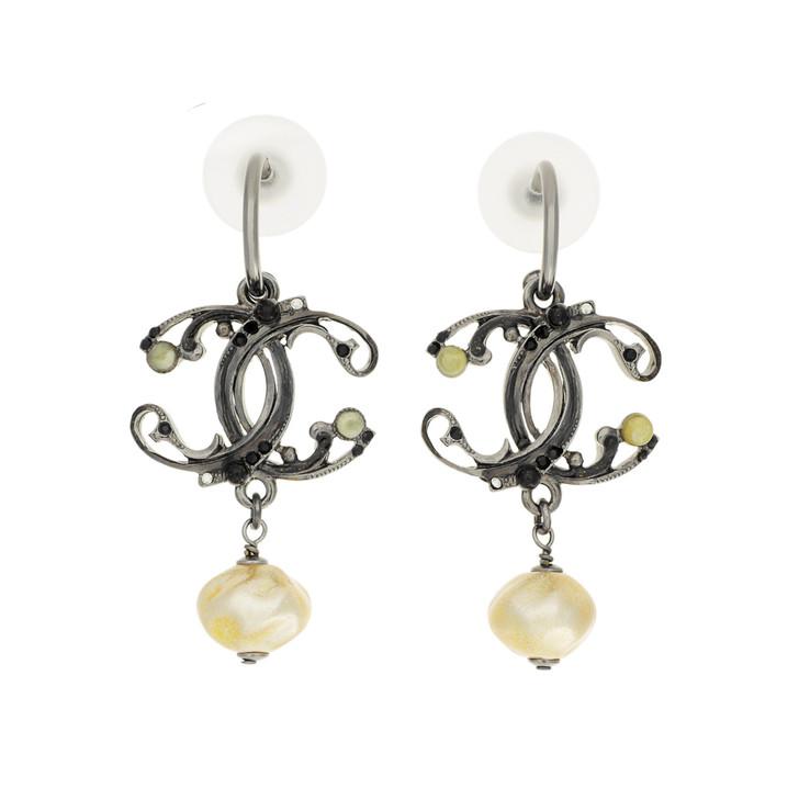Chanel CC  Pearl Drop Earrings