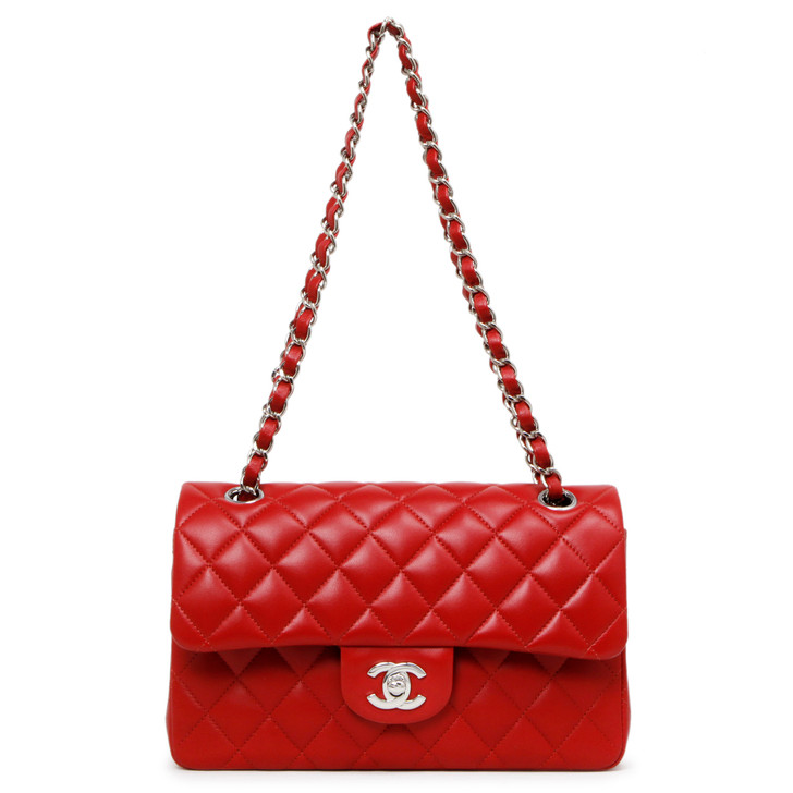 Chanel Red Quilted Lambskin Small Classic Double Flap