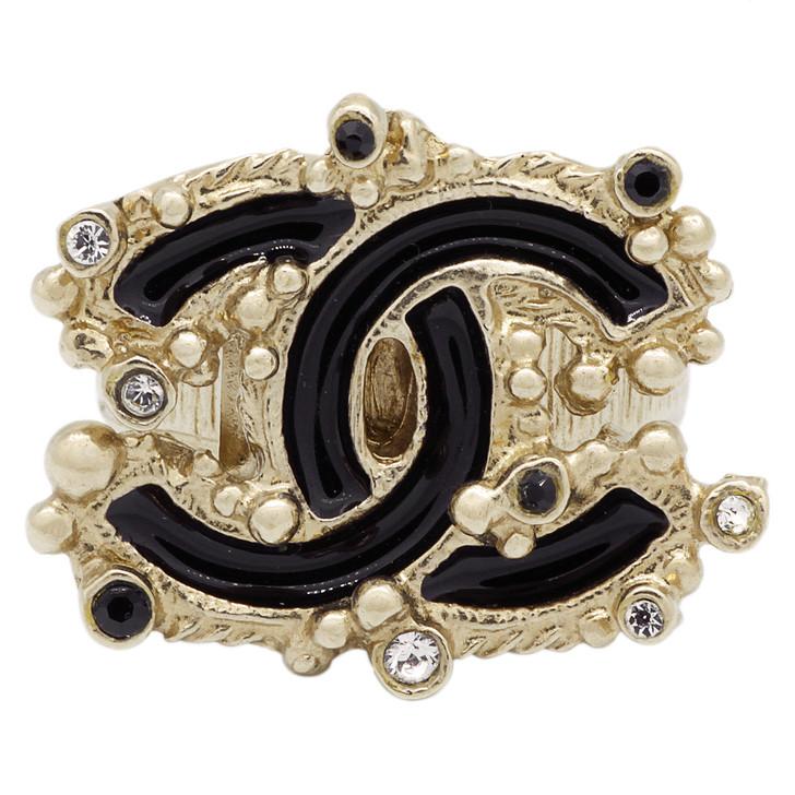 Chanel CC Enamel & Crystal Ring