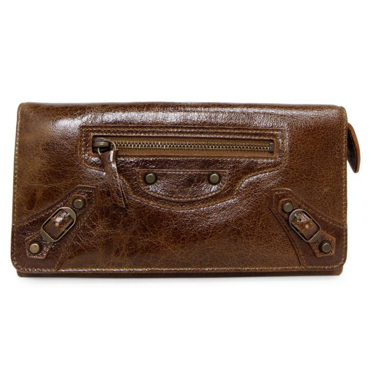 Balenciaga Brown Chevre Classic Money Wallet