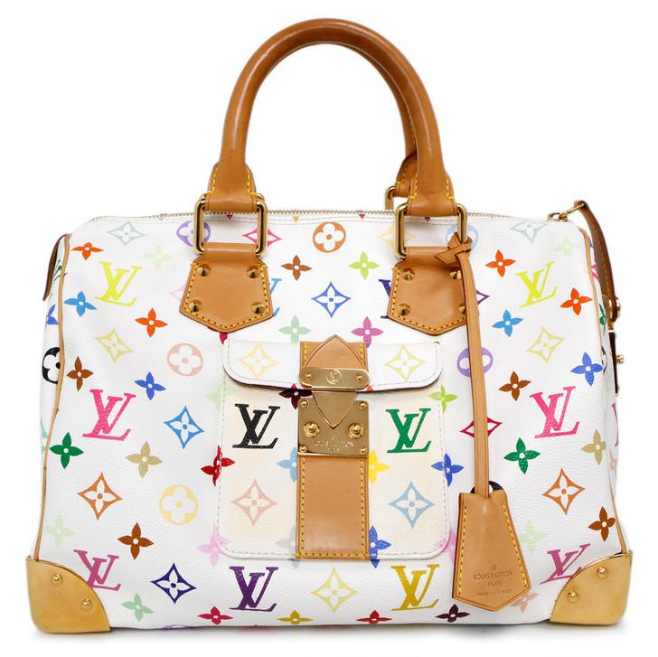 Louis Vuitton  White Multicolor Speedy 30