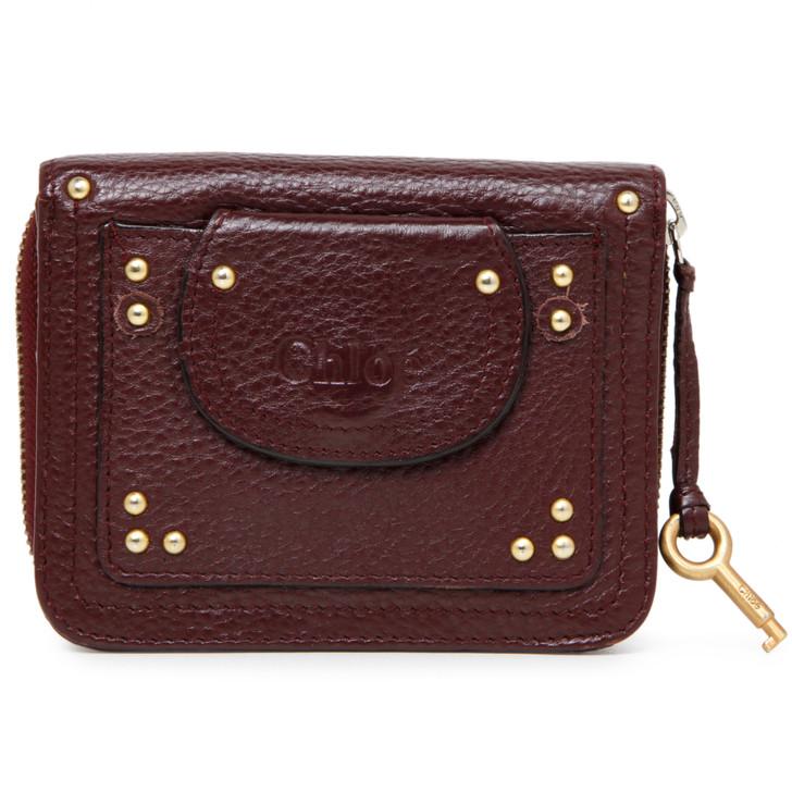 Chloe Burgundy Calfskin Paddington Compact Zip Around Wallet