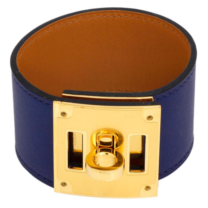 Hermes Blue Swift Kelly Dog Bracelet