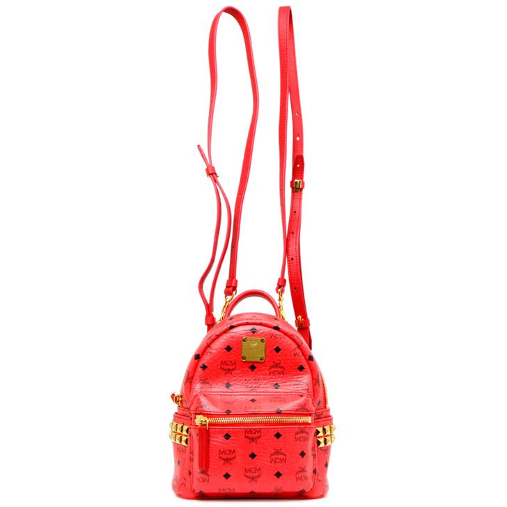 MCM Corail Visetos Canvas Side Studs X-Mini Stark Backpack