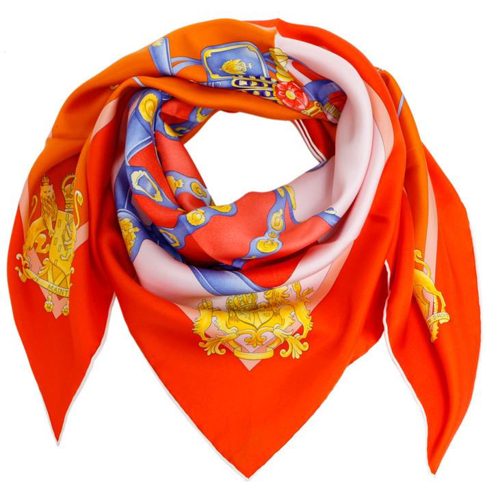 Hermes Orange Silk Harnais De Cour Scarf 90