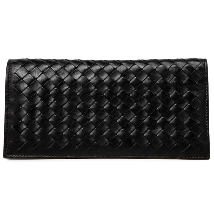Bottega Veneta Black Intrecciato Long Bifold Wallet