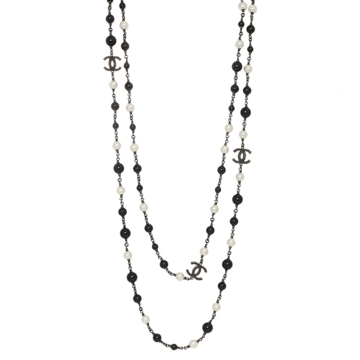 Chanel Pearl & Black Bead CC Long Necklace