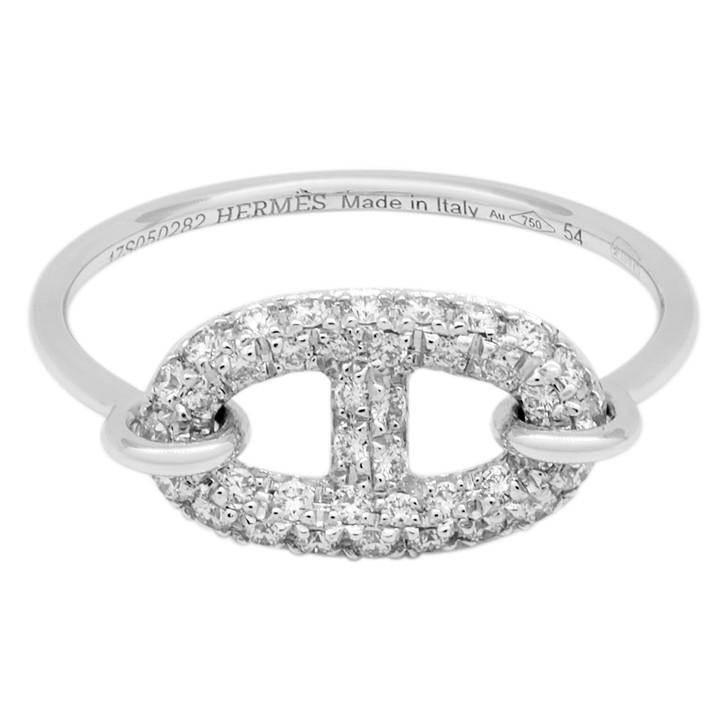 Hermes 18K White Gold & Diamond Small Ronde Ring