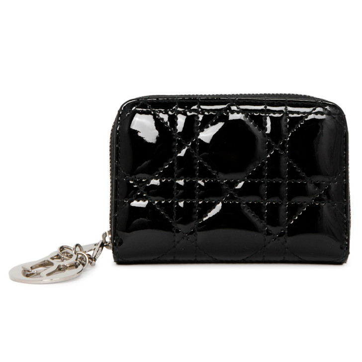 Christian Dior Black Patent Cannage Lady Dior Multi  Card Holder