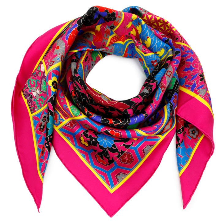 Hermes Fuchsia Silk Collections Imperiales Scarf 90