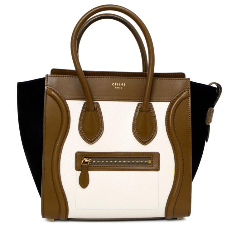 Celine Tricolor Calfskin/Suede Micro Luggage Tote