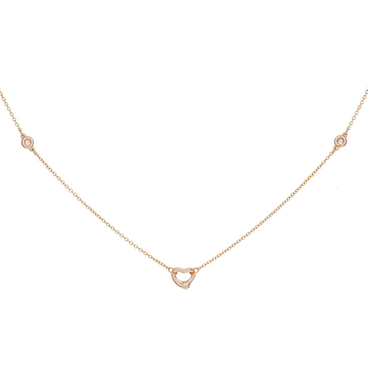 Tiffany & Co. 18K Rose Gold Diamonds by the Yard Open Heart Necklace