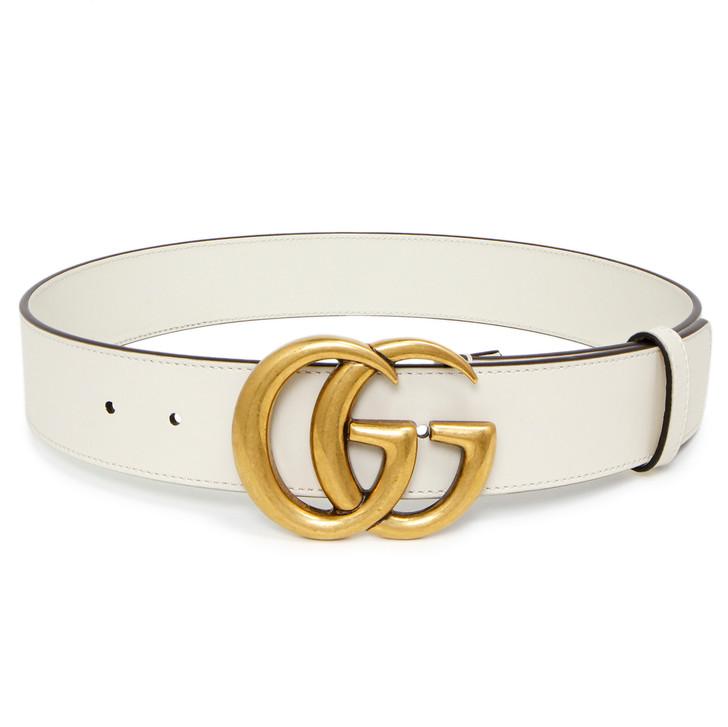 Gucci White Calfskin Double G Belt