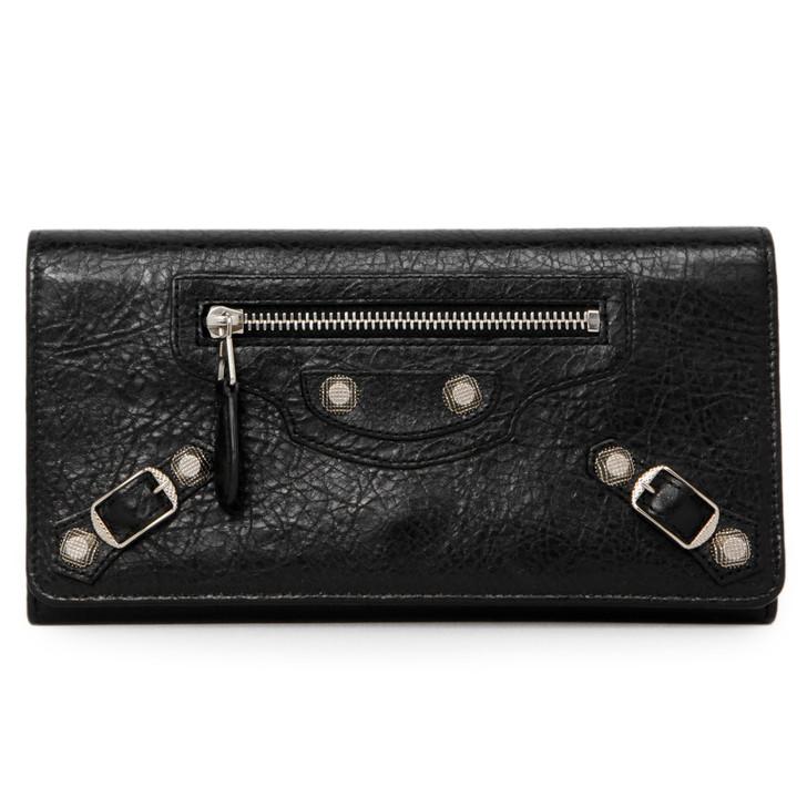 Balenciaga Black Lambskin Giant 12 Money Wallet