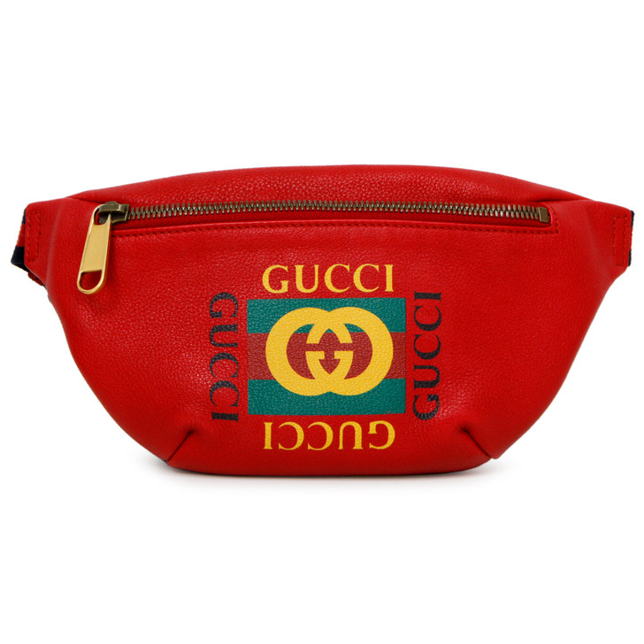 Gucci Red Grained Calfskin Small Print Belt Bag