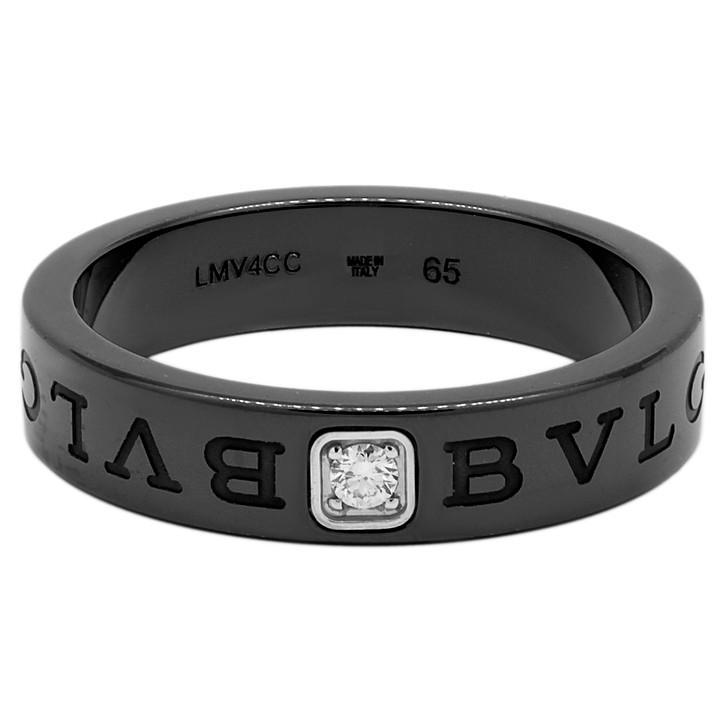 Bvlgari Black Ceramic & Diamond Band Ring