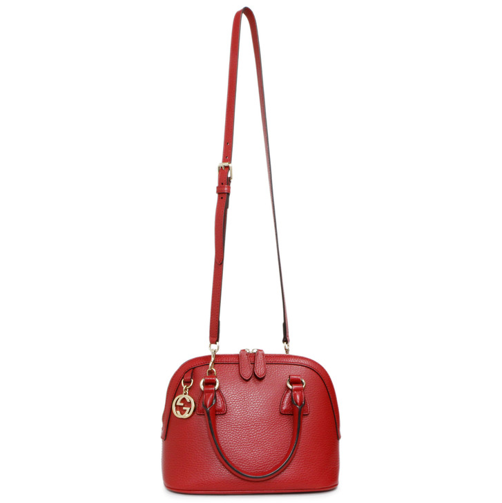 Gucci Red Dollar Calfskin Small GG Charm Dome  Bag