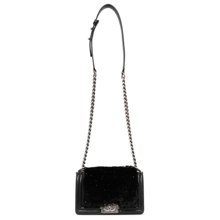 Chanel Black Lambskin & Rabbit Fur Small Boy Bag