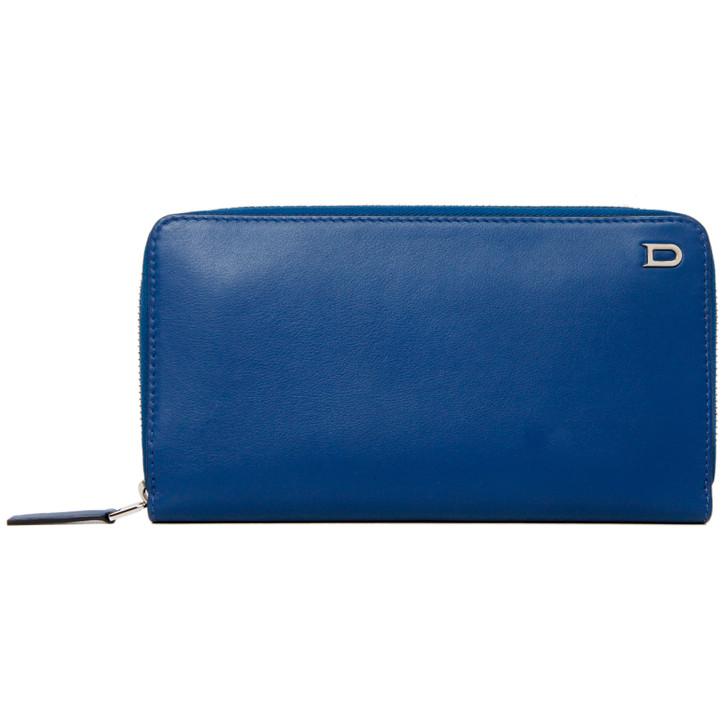 Delvaux Blue Calfskin Zip Around Wallet