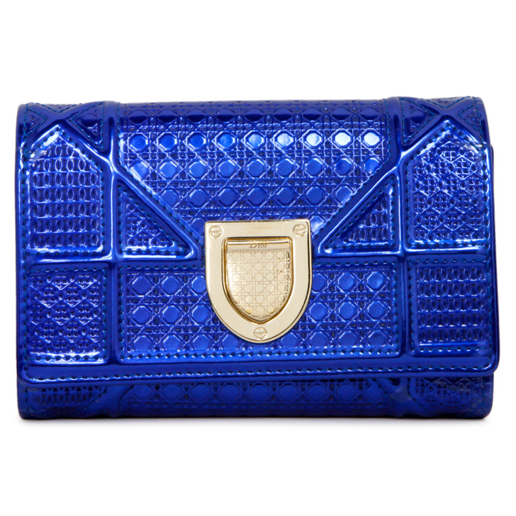 Christian Dior Metallic Mirror Blue Patent Micro Cannage Diorama Elancee Wallet