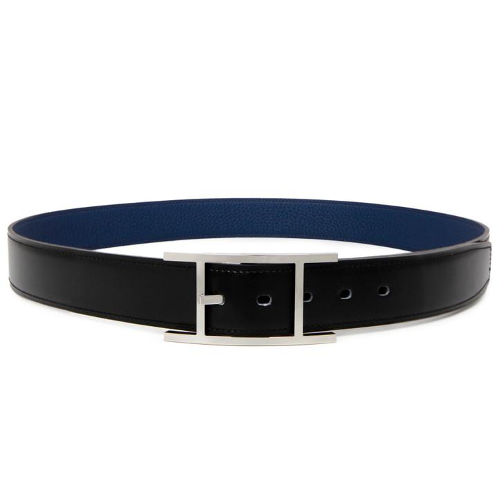 Hermes Black/Bleu de Prusse Box/Togo Quentin 32mm Reversible Belt
