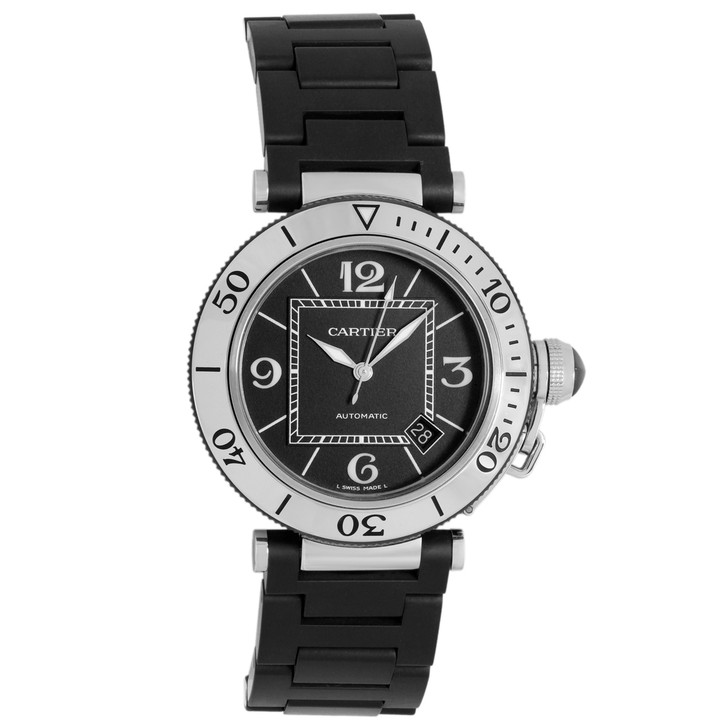 Cartier Stainless Steel/Rubber Pasha Seatimer  W31077U2